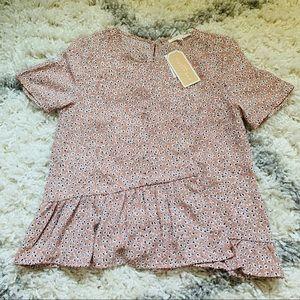 NWT Mauve Pink Printed Flower Chiffon Shirt